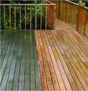 Before after photo of a deck