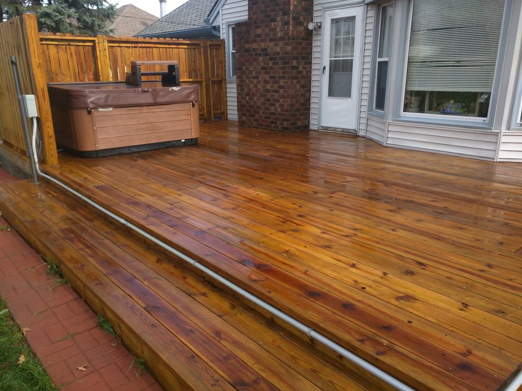 Wood deck after deck sealing by seal smart